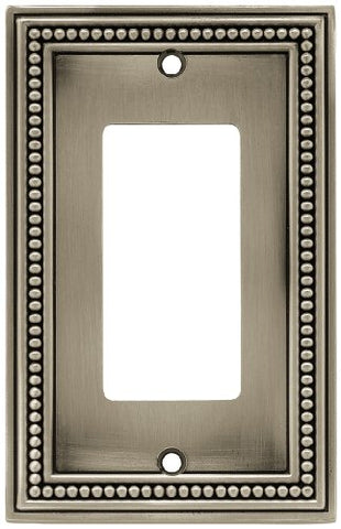 Brainerd 64778 Single Decorator Beaded Collection Wall Plate, Brushed Satin Pewter - llightsdaddy - Brainerd - Wall Plates