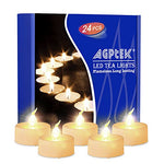AGPTEK Timer Flickering Tea Lights 24 Pack Flickering LED Candles with Timer Battery Operated Flameless Tealight Candles for Wedding Holiday Party Home Decoration Warm White - llightsdaddy - BrainyTrade - Flameless Candles