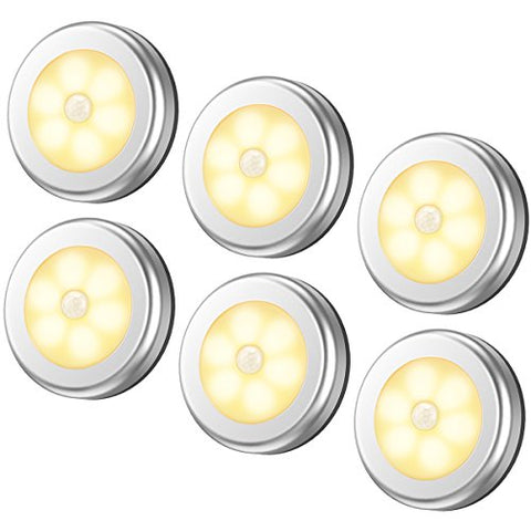 Amir Motion Sensor Light, Cordless Battery-Powered Led Night Light, Stick-Anywhere Closet Lights Stair Lights, Puck Lights For Hallway, Bathroom, Bedroom, Kitchen, Etc. (Warm White - Pack Of 6) - llightsdaddy - Amir - Lights