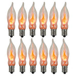 Flicker Flame Light Bulb, Realistic Flame Shaped Bulb Flickering Orange, Halloween Decor, 1 Watt, 120 Volt, E12 Flame Candelabra Light Bulbs Suitable for C18 String Lights, 12-Pack