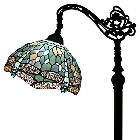 WERFACTORY Tiffany Style Reading Floor Lamp Sea Blue Stained Glass With Crystal Bead Lampshade In 64 Inch Tall For Living Room - llightsdaddy - WERFACTORY - Outdoor Floor Lamps