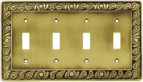 Franklin Brass 64043 Paisley Quad Toggle Switch Wall Plate/Switch Plate/Cover, Tumbled Antique Brass - llightsdaddy - Franklin Brass - Lamp Post Mounts