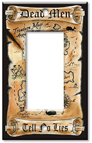 Single Gang Rocker Wall Plate - Treasure Map - llightsdaddy - Art Plates - Wall Plates