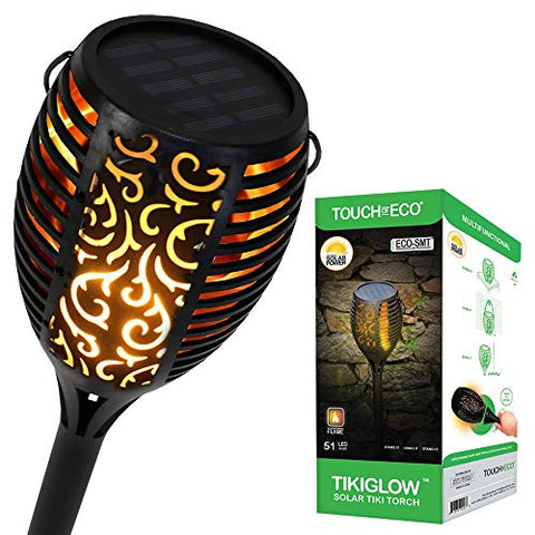 Solar LED Tiki Torch - Outdoor, 51 Flickering Flames, Landscape Lights, Dusk to Dawn, Weather Resistant - for Lawn, Garden, Patio, Deck, Pathway