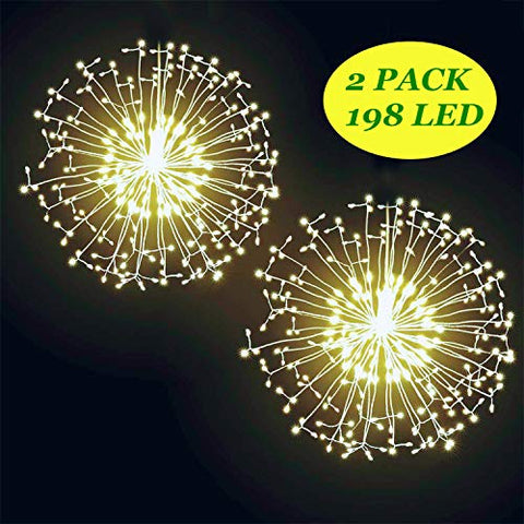 2Pack Diy Bouquet Firework Light-198Led Waterproof Hanging Copper Wear Lights With 8 Modes Remote Control, Christmas Lights For Outdoor Garden Festival Decor(Warm Yellow, Battery)