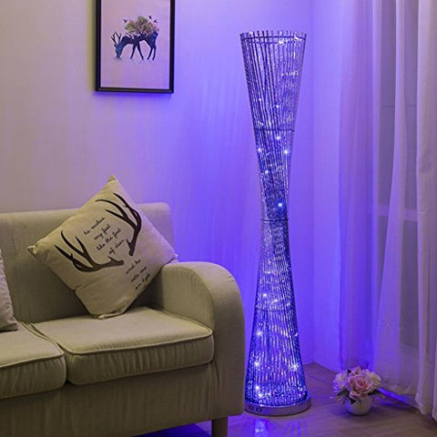 Modern Creative Aluminum Floor Lamp LED Decoration Warm Atmosphere Lamp Indoor Lighting Perfect for Home, Living Room, Bedroom, H148D28CM (Color : Black+silver 3 color) - llightsdaddy - LOFAMI - Lamp Shades