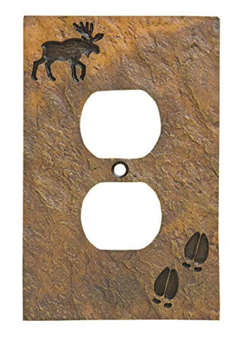 Big Sky Carvers 30170443 Moose and Tracks Single Outlet Cover - llightsdaddy - DEMDACO - Lightning Fixtures