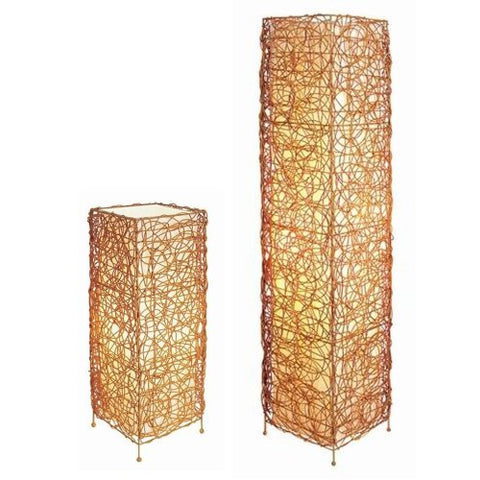 S.H. International Rectangle Rattan Lamp Set - Table and Floor Lamp - llightsdaddy - S.H. International - Outdoor Floor Lamps