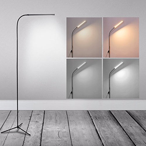 LED Floor Lamp Standing Reading Lamp, Dimmable Adjustable Gooseneck Desk Table Lamp (4 Color Temperatures, 8W, Floor Light for Living Room, Bedroom, Office) Black - llightsdaddy - XIFIRY - Table Lamp