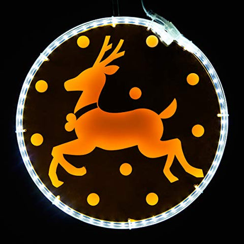 "Wintergreen Lighting Laser Etched Acrylic Clear Christmas Decorations, Lit Window Decorations Christmas Light Decorations Indoor-Outdoor (12"", Orange Lighted Medallion With Reindeer Design)"