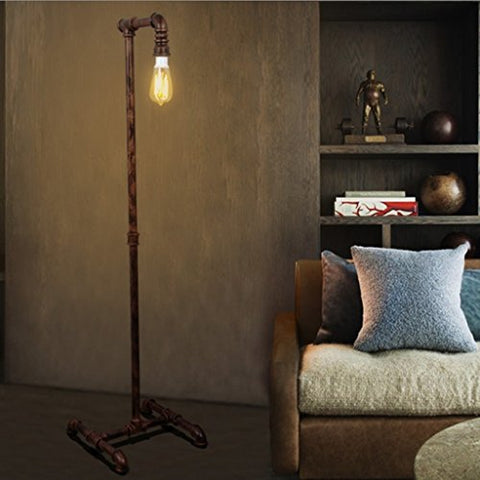 Industrial Water Pipe Floor Lamp, Retro Decoration Study Room Living Room Bedroom Iron Table Lamp, E271, L25W40H142CM - llightsdaddy - Cang teacher - Table Lamp
