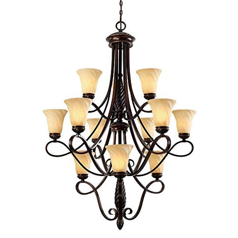 Golden Lighting 8106-363 CDB Chandelier with Remolino Glass Shades, Cordoban Bronze Finish - llightsdaddy - Golden Lighting - Chandeliers