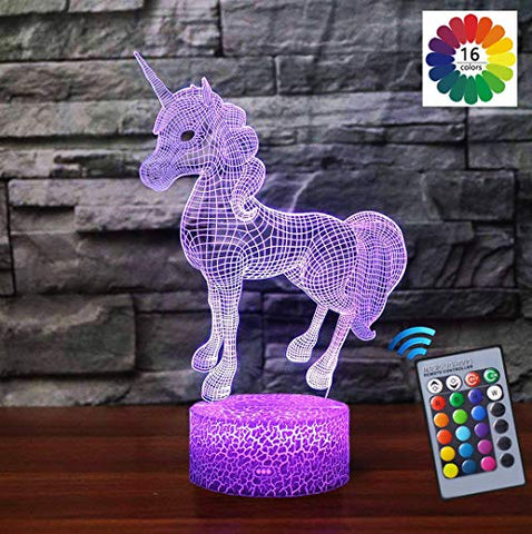 Carryfly Unicorn Gifts Night Light Bedside Lamp 16 Colors Change Remote Control Kids Night Light Gift Optical Illusion Lamps For Kids Lamp As Gift Ideas For Boys Or Kids