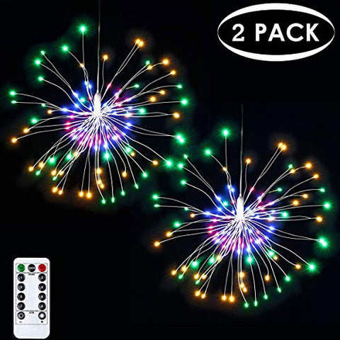 2 Pack Halloween Decorations, Starburst Lights Fireworks String Lights, 8 Modes Dimmable Fairy Lights with Remote Control, Bouquet Hanging Lights for Party, Outdoor use(120 LED, Colorful, Battery)