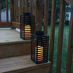 Flameless Black Candle Lanterns with Warm White LEDs, Metal Slat Design, Timer Option and Batteries Included - Set of 2 - llightsdaddy - LampLust - Flameless Candles