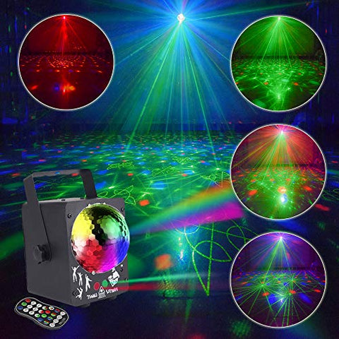 AMKI Party Light Stage Laser Light Mini Flash Strobe Light RGB Color DJ Disco Lights Projector by Sound Activated Remote Control for Stage Lighting Christmas Parties (Disco Ball Version)