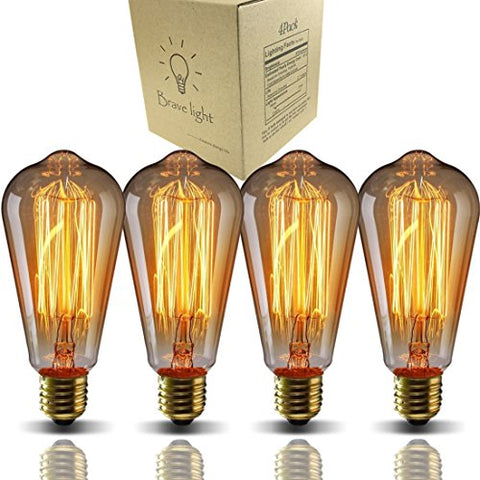 Vintage Light Bulbs,Bravelight Filament Light Bulbs,Edison Bulbs ST64 E26 40W Dimmable,Squirrel Cage Filament Edison Lihgt Bulb for Restaurant Home Office Light Fixtures Decorative