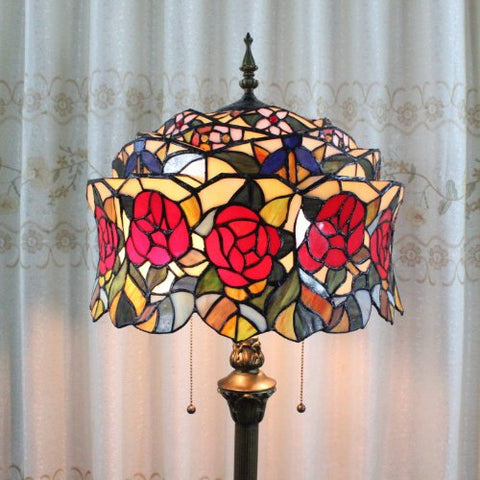 Tiffany 16-inch European-style stained glass floor lamp roses 2 bulbs - llightsdaddy - Florid Tiffany - Lamp Shades