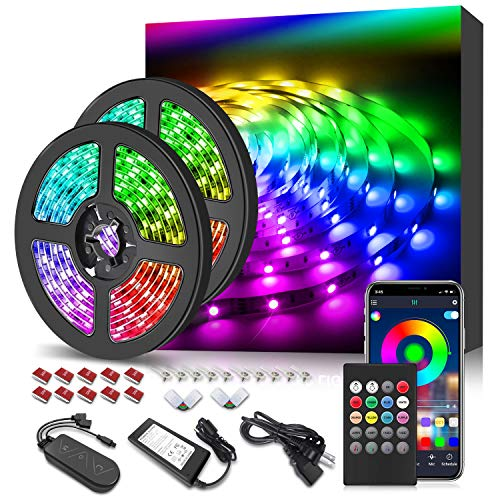 32 8ft Led Strip Lights App Control Color Changing Rope Lights With Remote Music Sync Built In Mic Smd 5050 Rgb Light Strips Rgb Led Strip 32 8ft