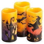 Eldnacele Halloween Flameless Flickering LED Candles with 6-Hour Timer, Battery Operated Wax Candles Assorted Decals Witch, Bats, Castle Set of 3 for Decoration - llightsdaddy - Eldnacele - Flameless Candles