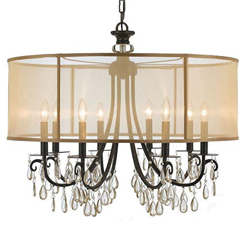 Crystorama-5628-EB-Crystal-Accents-Eight-Light-Chandelier-from-Hampton-collection-in-Bronze/Darkfinish,