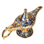 WEISIPU Aladdin Magic Genie Lamps - Vintage Incense Burners Magic Genie Light Lamp for Home Table Decoration/Party/Halloween/Birthday (Gold-Blue)