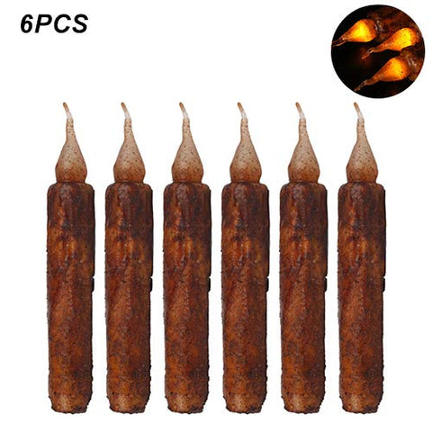MADELEINE PRESTON 6 Pcs Halloween Vintage LED Taper Candles Lights Battery Operated Brightly Realistic Yellow Flicker Wax Flameless Candles - llightsdaddy - MADELEINE PRESTON - Flameless Candles