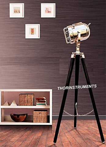 Royal Nautical Marine Chrome Searchlight Spotlight Lighting Wooden Tripod Floor Lamp Office Decor - llightsdaddy - THORINSTRUMENTS (with device) - Lamp Shades