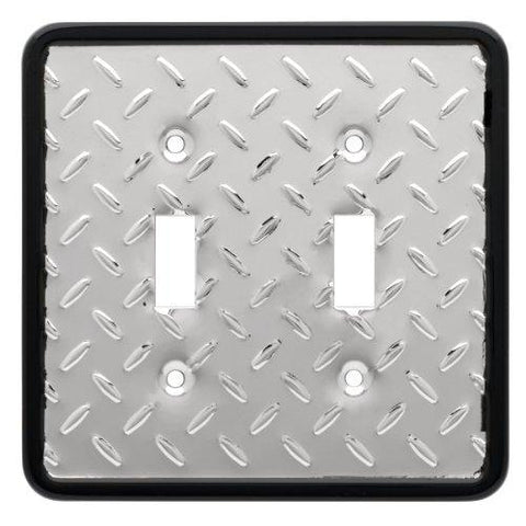 Franklin Brass 135861 Diamond Plate Double Toggle Switch Wall Plate / Switch Plate / Cover - llightsdaddy - Leviton - Wall Plates