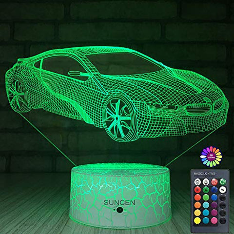 Suncen Car Lamp 3D Night Light For Kids With Remote & Smart Touch 7 Colors + 16 Colors Changing Dimmable Car Toys 1 2 3 4 5 6 7 8 Year Old Boy Or Kids Gifts (Car)
