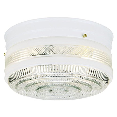 Westinghouse Lighting 6620400 One-Light Flush-Mount Interior Ceiling Fixture, White Finish with White and Clear Glass