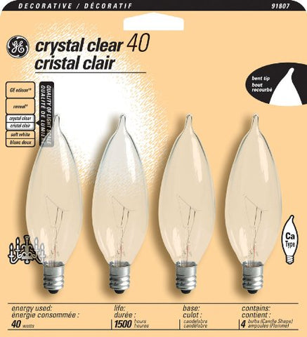 GE 16047 40-Watt Bent Tip Candelabra Base Light Bulb, Crystal Clear, 4-Pack - llightsdaddy - GE Lighting - Incandescent Bulbs