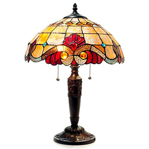 "Chloe CH15063AV15-TL2 14.5"" Shade Shelly Tiffany-Style 2 Light Victorian Table Lamp, 20.25 x 14.5 x 14.5, Multicolor"