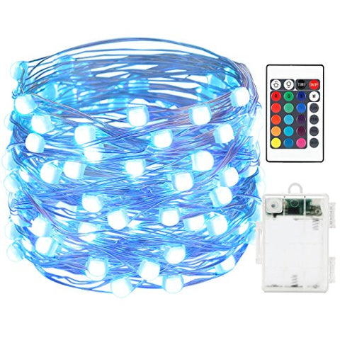 AMIR LED String Lights 50 LED/164ft With Battery Operated Remote Control super brighter Lights Waterproof IP65 16 Colors Decorative Lights for Outdoor Parties Christmas (Low voltage Non plug in)