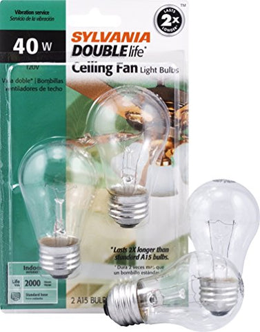 SYLVANIA Home Lighting 10034 Incandescnet Bulb, A15-40W, Double Life, Clear Finish, Medium Base, Pack of 2  Sylvania Home Lighting Incandescent Light Bulbs llightsdaddy.myshopify.com lightsdaddy