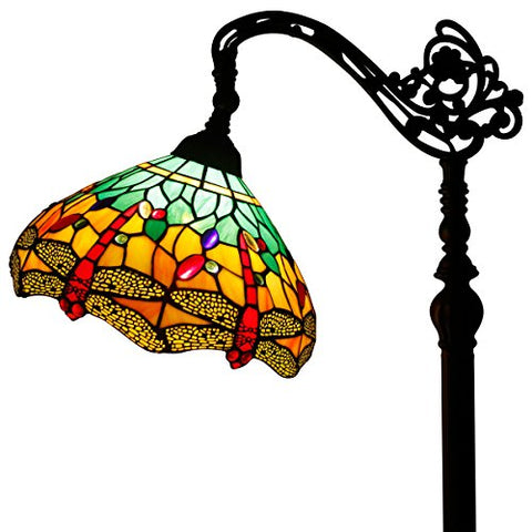 Tiffany Style Reading Floor Lamp Green Stained Glass with Crystal Bead Lampshade in 64 Inch Tall for Living Room - llightsdaddy - WERFACTORY - Outdoor Floor Lamps