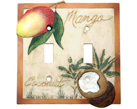 Mango Bay Palm Tree Tropical Fruit Double Outlet Cover - llightsdaddy - Borders Unlimited - Wall Plates