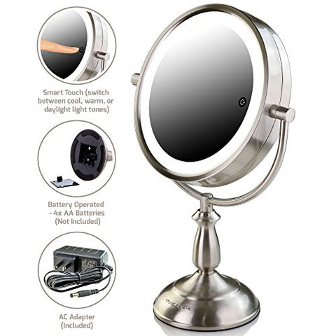 Ovente Tabletop Makeup Vanity Mirror 7.5 Inch with 1X7X Magnification and 3 Tones LED Light of Cool, Warm & Daylight, Double-Sided with Distortion-Free View, Nickel Brushed (MPT75BR1X7X)