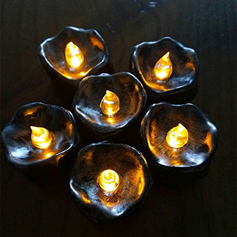 "Flameless LED Tea Light Mini Candles For Halloween Decorations, Black ""Tear Drop"" Dripping Style Electric Tealights, Battery Operated Realistic Flickering Votives, Pack of 12 - llightsdaddy - Mono Style - Flameless Candles"