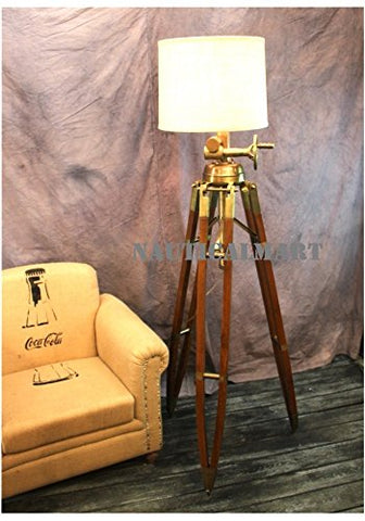 Royal Marine Lamp Huge Tripod Floor Lamp Antique Brass With Wooden Base - llightsdaddy - NAUTICALMART - Lamp Shades