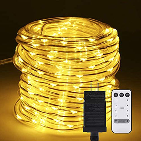 B-Right Led Rope Lights Outdoor, 72Ft 200 Led String Lights Plug In Remote Dimmable 8 Modes Waterproof Indoor/Outdoor Rope String Lights For Tree Patio Garden Fence Roof Decoration (Warm White)