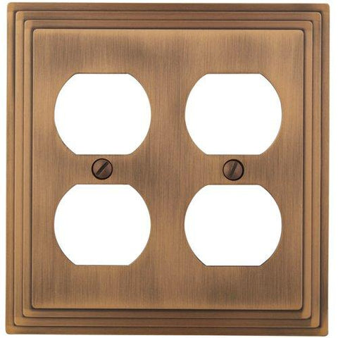 Amerelle Steps Double Duplex Cast Metal Wallplate in Antique Copper - llightsdaddy - AmerTac - Wall Plates