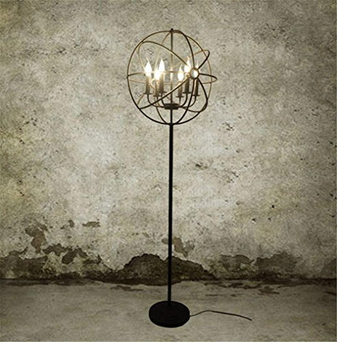 Industrial vintage floor lamp living room bedroom E14 iron Crystal floor light - llightsdaddy - DHXY Floor Lamps - Lamp Shades