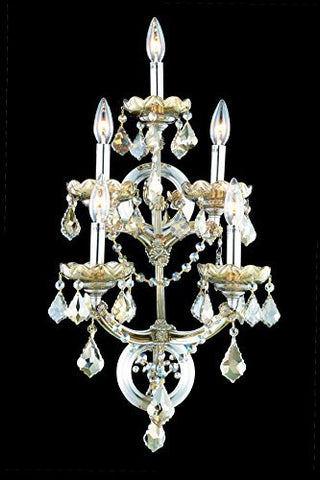 Elegant Lighting Maria Theresa Collection 5-Light Wall Sconce with Royal Cut Golden Teak Crystals, Golden Teak Finish