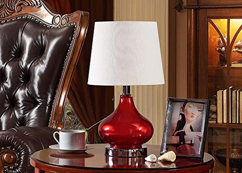 L321 Set Of Two Table Lamps - Red; White; Chrome