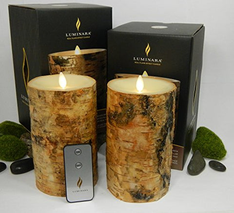 "Luminara BIRCH BARK Flameless Candle 7"" Inch Pillars: 2PC SET w/ REMOTE CONTROL - 4"" x 7"", Ivory Wax, Battery Operated, Timer 