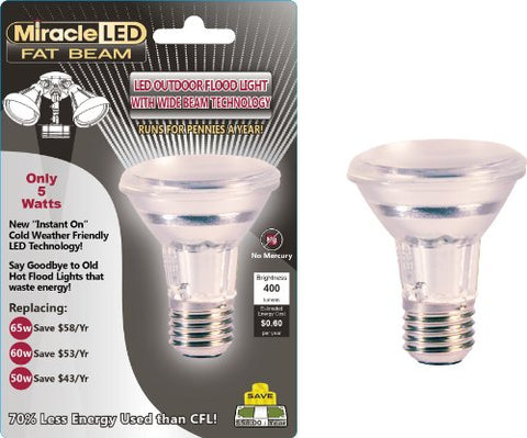 "Miracle LED 603005 5 Watt ""Fat Beam"" Wide Angle Flood Light Security Bulb, Cool White"