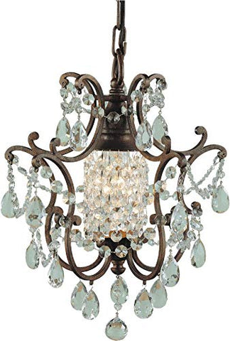 "Feiss F1879/1BRB Maison De Ville Crystal Mini Chandelier Lighting, Bronze, 1-Light (11""Dia x 14""H) 100watts"