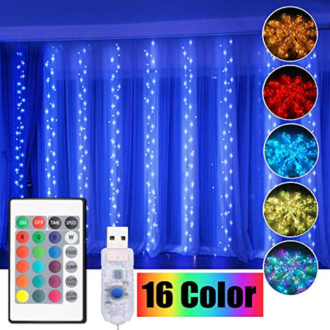 Curtain String Light, Window Christmas Lights 16 Color 4 Modes Shows With Remote & Timer, 300 Rgb Usb Powered Waterproof Fairy Twinkle Lights For Wedding Party Garden Bedroom Outdoor Wall Decoration