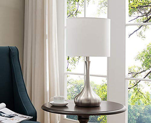 L221 Set Of Two Table Lamps - Brushed Nickel; White